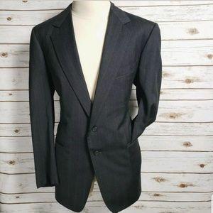 Zegna Blazer Wool Charcoal Gray Mens 44L Stripes